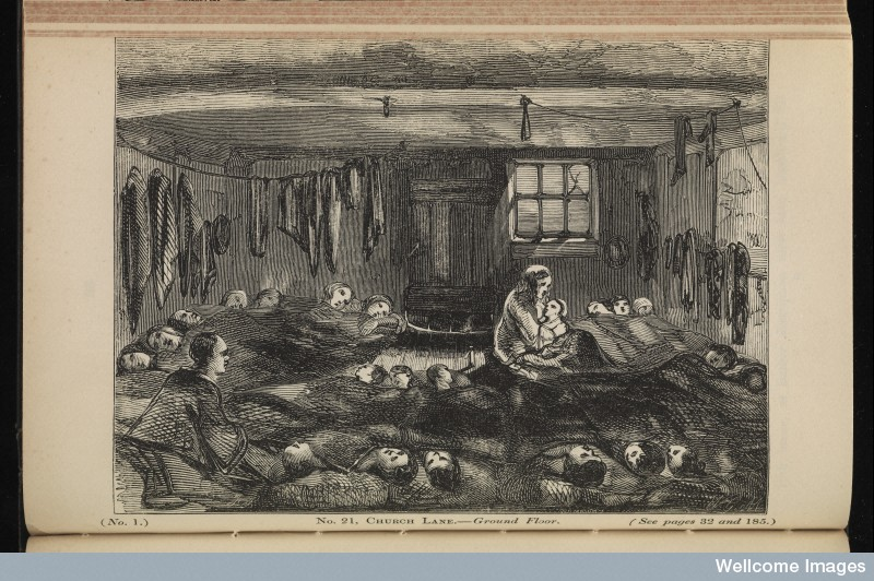 Image of poor sanitation in London, 1850s